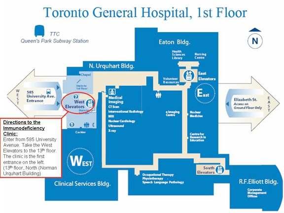 Toronto General Hospital Map Contact & Directions | Immunodeficiency Clinic